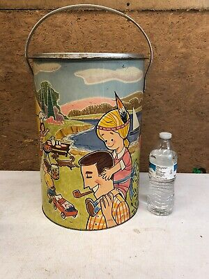 Vintage 1970s Alaskan Container Comp. Metal Tin Litho Cooler Family BBQ Large