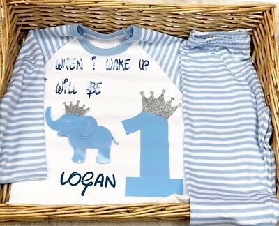 When I Wake Up Birthday Personalised Pyjama Baby  Blue White Dinosaur Elephant