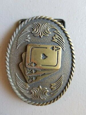 Vintage Playing Cards Gambling Card Game Royal Flush Ace Solid Brass Belt Buckle