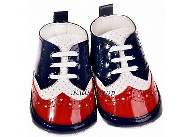 BABY BOY PATENT SOFT SHOES CHRISTENING WEDDING SMART FORMAL PARTY Blue/Red