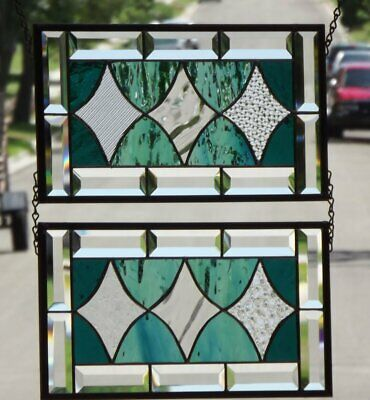 ••Siblings ••  Set of 2 Beveled Stained Glass Window Panels •