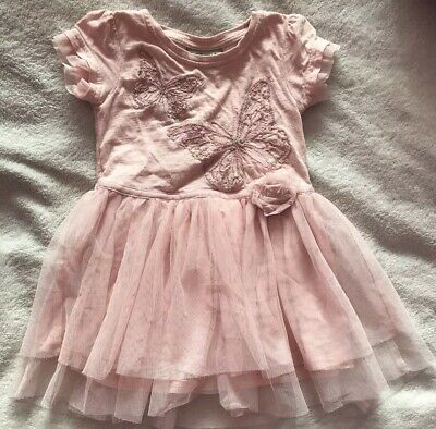 Beautiful Baby Girls Next Embroidered Butterfly Dress Age 6-9 Months