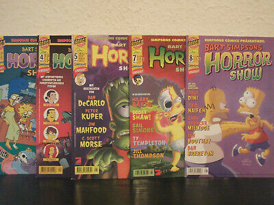 5x Bart Simpsons Horror Show, Nr. 3/4/5/7/8 (Simpsons Comics; Dino/Bongo)