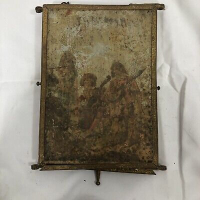 Antique French Victorian Folding Vanity Mirror 6x8.5 Inches