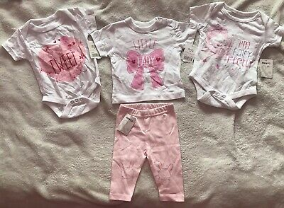 Lovely Baby Girls Brand New Outfit & Vests Age 0-3 Months