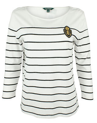 Lauren Ralph Lauren Women's Petite Crest Striped Jersey Top