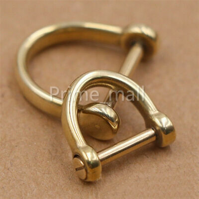 Pure brass D-shaped bow shackle screw pin joint connection car key chain hook