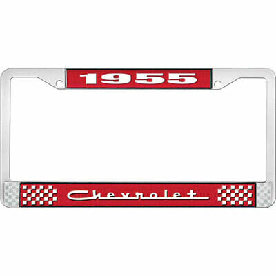 OER LF2235505C 1955 Chevrolet Red And Chrome License Plate Frame With White Lett