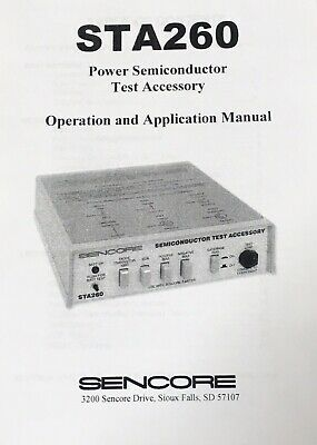 NEW SENCORE STA260 OWNERS MANUAL, Test Accessory To The Sencore LC103