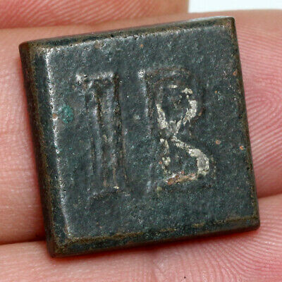 Byzantine Bronze Square Weight with Engraved I B , In Silver- Circa 500-700 AD