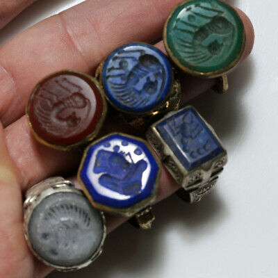 TOP LOT OF 6 BRONZE POLISHED INTAGLIO RINGS-NEAR EAST Circa 1500-1700 AD