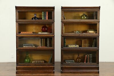 Pair of Quarter Sawn Oak Antique 4 Stacking Lawyer Bookcases, Macey #31343