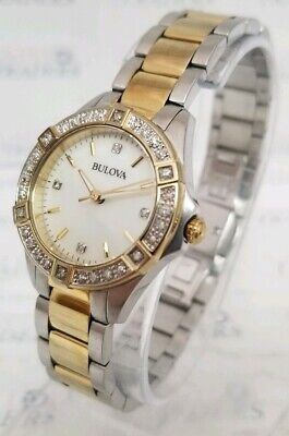 Bulova 98R236 Women's 28mm Two Tone MOP Dial Diamond Watch **SHIPS FREE**