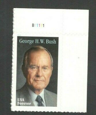 5393 George H. W. Bush US Single With Plate Number Mint/nh Free Shipping