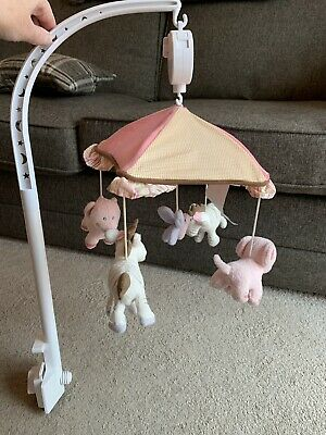 Pink/cream Girls Musical Cot Mobile