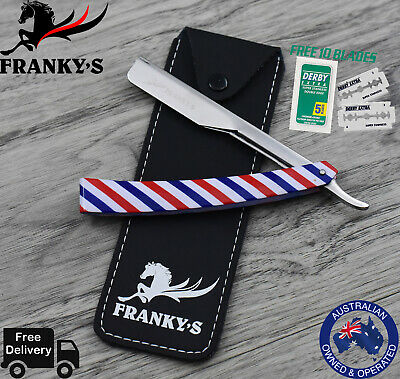 Barber Salon Straight Cut Throat Shaving Razor Rasoirs Messers With 10 Blades
