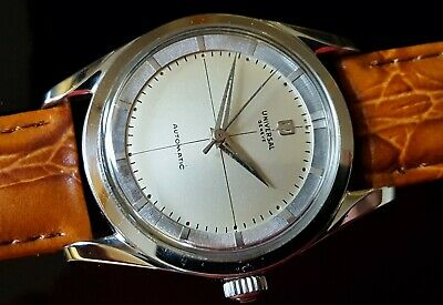 Vintage UNIVERSAL GENEVE POLEROUTER MICROTOR Cal. 215 CROSS HAIR DIAL New case