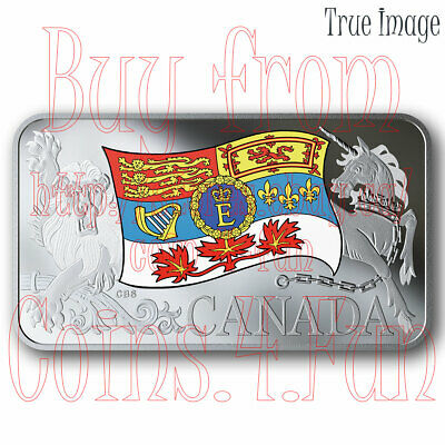 2019 - Queen Elizabeth II's Personal Canadian Flag - $25 Pure Silver Proof Coin