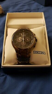 Seiko SSC453 Men's Recraft Grey Dial Grey IP Stainless Steel Solar Chronograph