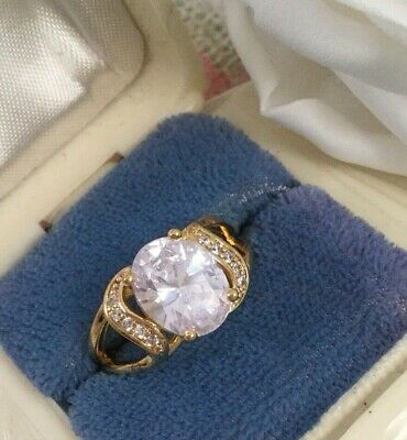 Vintage Jewellery Gold Ring with White Sapphires Antique Art Deco Jewelry size 7