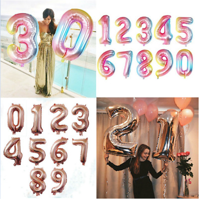 "40"" Rose Gold Number 0-9 Foil Helium Balloon Wedding Birthday Party Decor New"