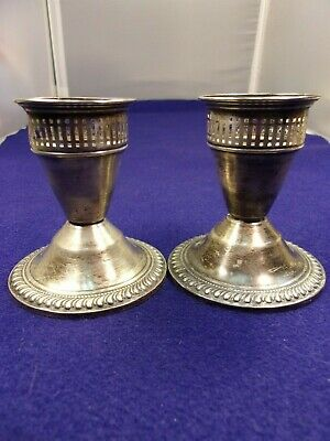 """Beautiful Pair Of Vtg Sterling Silver Candlesticks (By """"Duchin""""), Fancy All Over"""