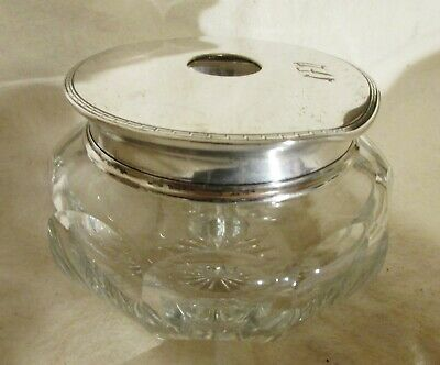 Panelled Glass Hair Receiver With Sterling Lid