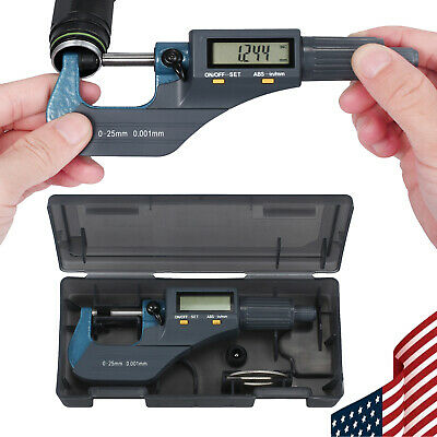 """0-1"""" Digital Electronic Micrometer with LCD Display Inch/Metric Measuring Guage"""