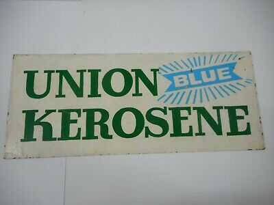 Vintage Original Atlantic Union Blue Kerosene Tin Sign