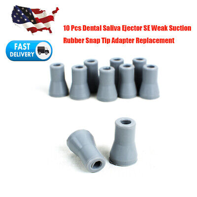 10Pc Dental Saliva Ejector Weak Suction Rubber Snap Tip Tips Adapter Replacement