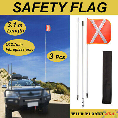3m Recovery Sand Flag Safety Flag  4WD Towing Offroad Touring, with quick connec