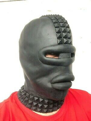 Black Latex Rubber Gimp Mask with Sissy Lips Studs Fetish Stag Party Oral Toy