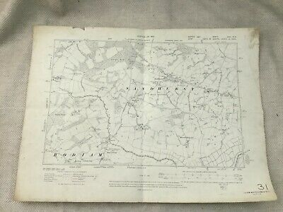 1910 Antique Map of East Sussex Kent Sandhurst Village Bodiam Original Copy