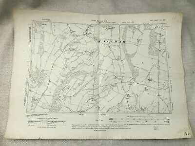 1908 Antique Map of Canterbury Waltham Village Kent County Old Original