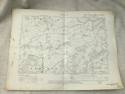 1910 Antique Map of East Sussex Kent Ewhurst Bodiam Robertsbridge