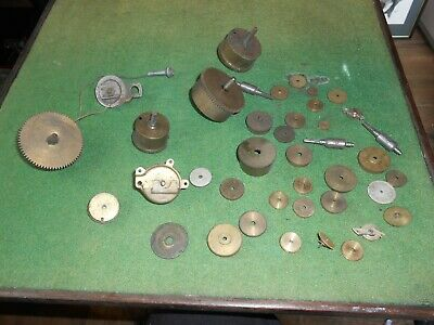 Steampunk Job Lot 40 Pieces Of Clock Parts Including Spring Barrels  Spares