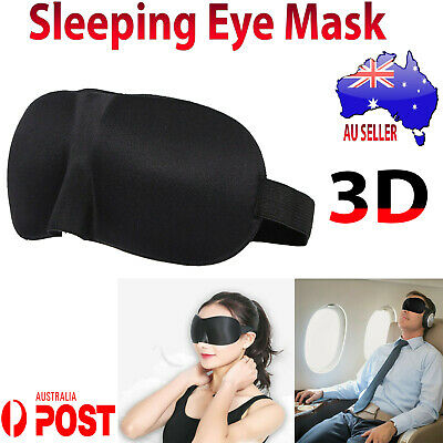3D Sleeping Eye Mask Blindfold Sleep Travel Relax Cover & Ear Plug Noise Stopper
