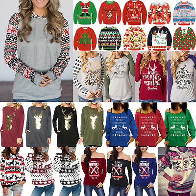 XMAS Women Sweatshirt Sweater Jumper Girls Christmas Hoodie Pullover Tops Blouse