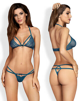 OBSESSIVE 838 Luxury Super Soft Decorative Lace Bra and Matching Thong Set