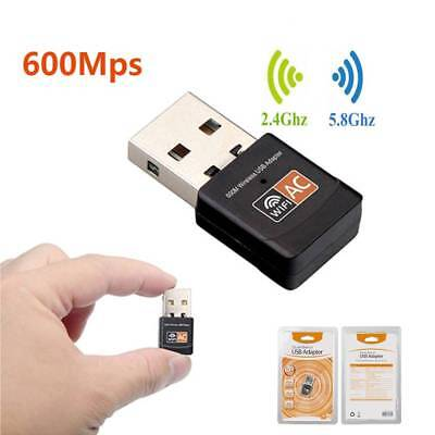 600Mbps Dual Band 802.11ac 2.4/5GHz PC WiFi USB Adapter Wireless Net LAN Dongle