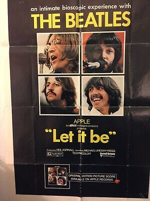 """The Beatles Let It Be 1970 Vintage Movie Poster .27 X40"""".Ends 6/21/2019"""