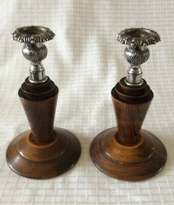 Pair Of Art Deco Turned Oak Candlesticks With Silver Plate Scones/Mounts
