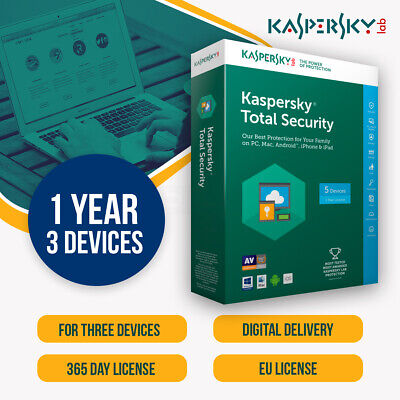 Kaspersky Total Security 2019 Multi Device | 3 DEVICES 3PC | 1 YEAR |  EU/UK