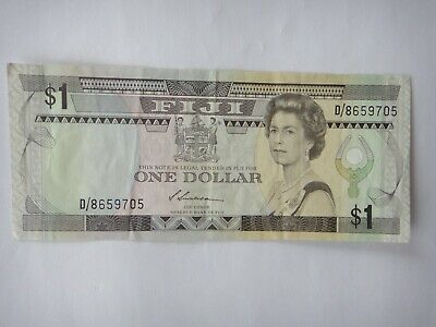 FIJI  $1  Dollar Old Paper  Banknote  aEF Circulated Condition