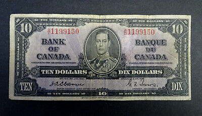 1937 $10 Bank of Canada Banknote, Signatures, Osborne-Towers, Very Rare