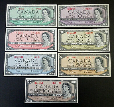 1954 Set of 7  Canadian Banknotes $1, $2, $5, $10, $20, $50 & $100 - Modified
