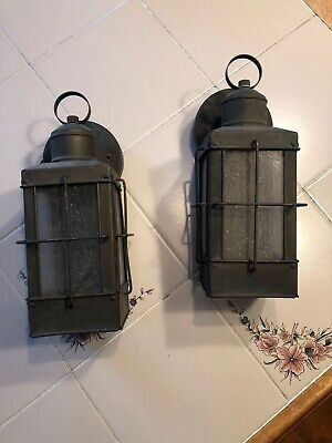 Vintage Copper Lanterns Mission Wall Sconce Outdoor Light Fixtures Pair