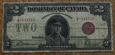 1923 Large $2 Dominion of Canada Red Seal Bank Note  DC-26e