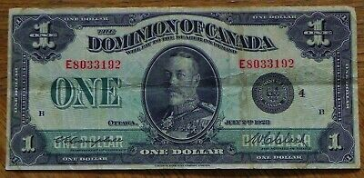 1923 Large $1 Dominion of Canada Bank Note  DC-25o