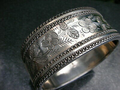1883 Victorian Sterling Silver Forget-Me-Not Bracelet Old Aesthetic Heavy Bangle